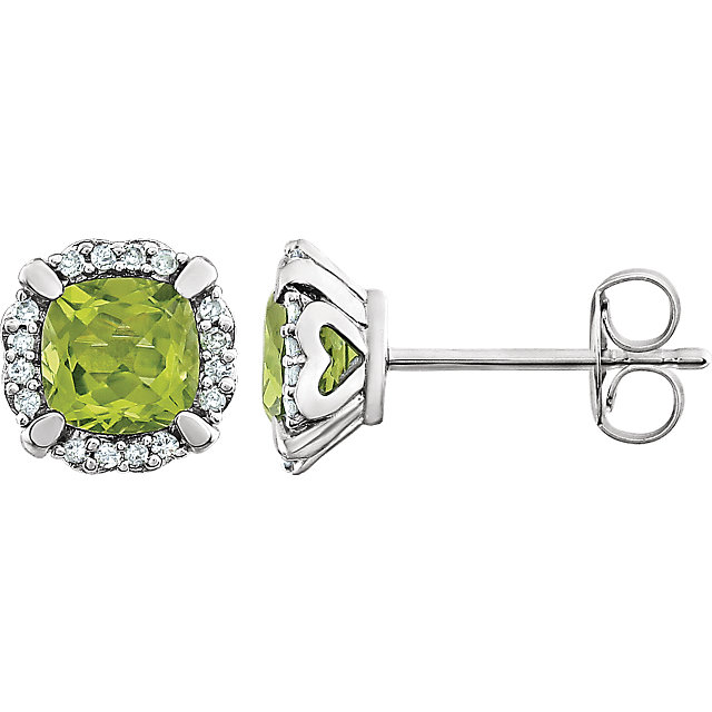 Easy Gift in 14 Karat White Gold Peridot & 0.10 Carat Total Weight Diamond Earrings