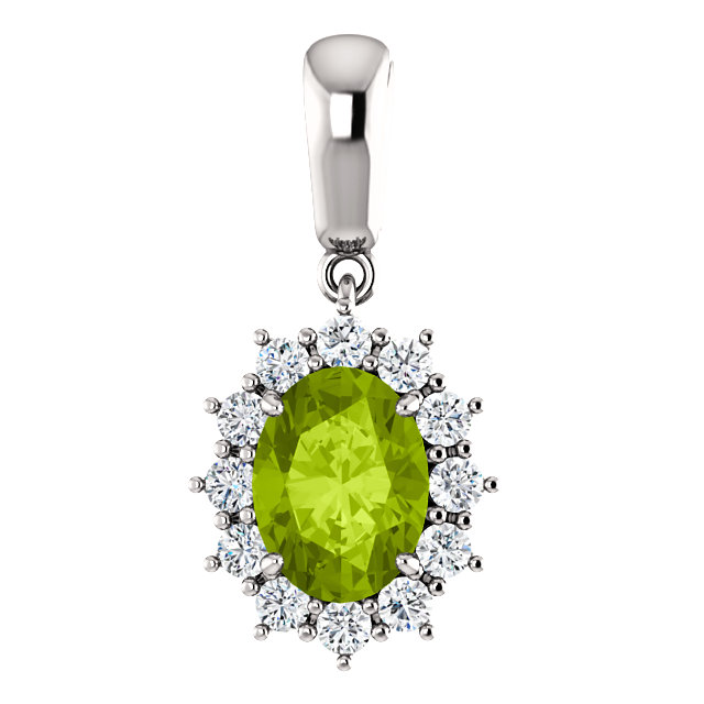 Very Nice 14 Karat White Gold Peridot & 0.33 Carat Total Weight Diamond Pendant