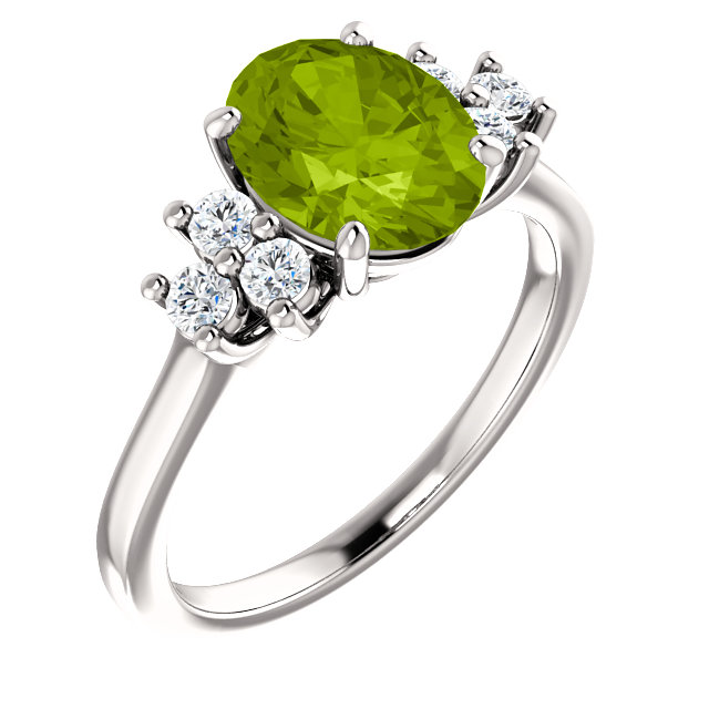 Trendy 14 Karat White Gold Oval Genuine Peridot & 1/4 Carat Total Weight Diamond Ring