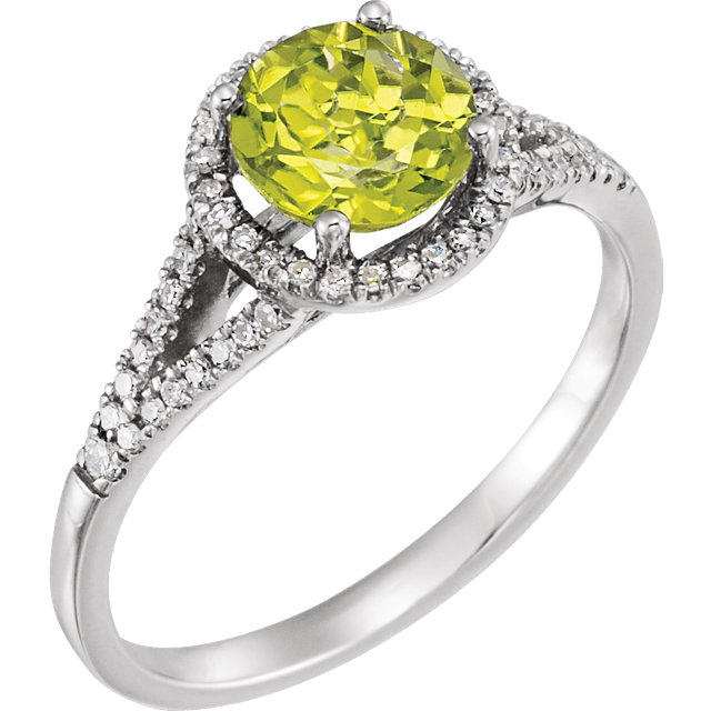 Fabulous 14 Karat White Gold Round Genuine Peridot & 1/5 Carat Total Weight Diamond Ring