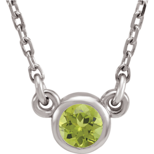 Graceful 14 Karat White Gold Round Genuine Peridot 16