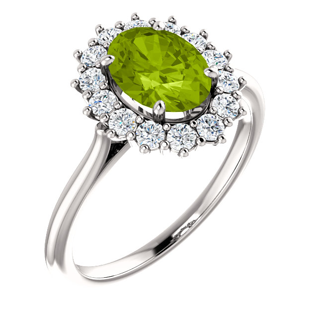 Nice 14 Karat White Gold Oval Genuine Peridot & 3/8 Carat Total Weight Diamond Ring