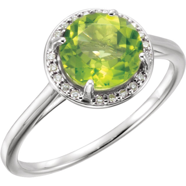 Alluring 14 Karat White Gold Round Genuine Peridot and .05Carat Total Weight Diamond Ring