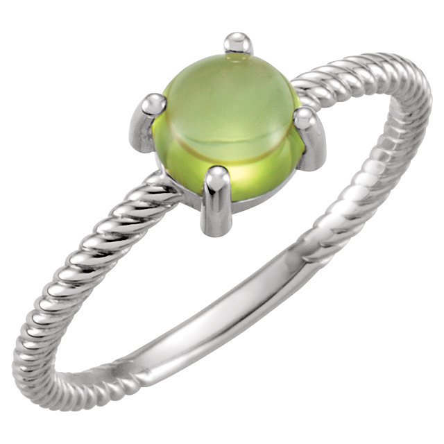Pleasing 14 Karat White Gold Round Genuine Peridot Cabochon Ring