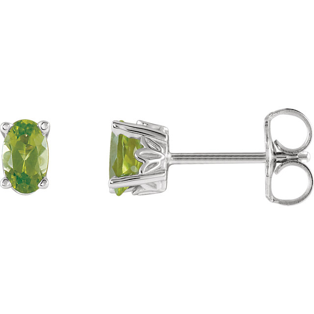 Incredible 14 Karat White Gold Oval Genuine Peridot Earrings