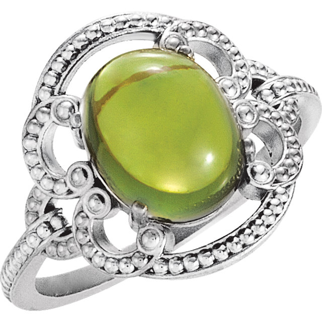 Magnificent 14 Karat White Gold Oval Genuine Peridot Granulated Design Ring