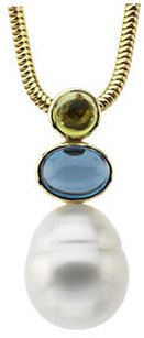 14KT White Gold Peridot, London Blue Topaz & South Sea Cultured Pearl Pendant