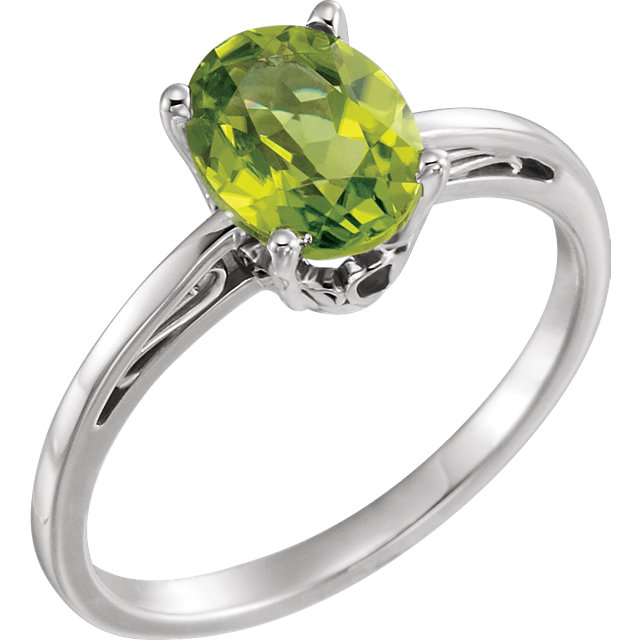 Pleasing 14 Karat White Gold Oval Genuine Peridot Ring