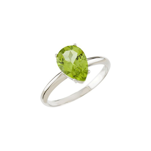 Chic 14 Karat White Gold Peridot Solitaire Ring