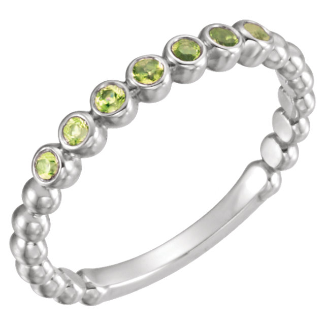 Magnificent 14 Karat White Gold Round Genuine Peridot Stackable Ring