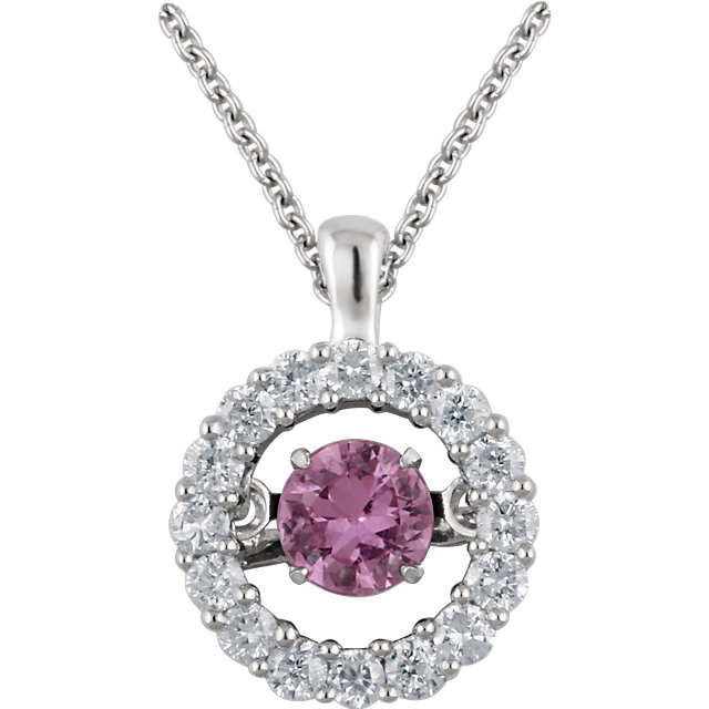 14KT White Gold Pink Sapphire & 1/5 Carat Total Weight Diamond 18
