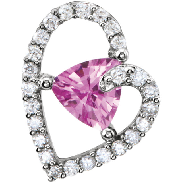 14KT White Gold Pink Sapphire & 1/5 Carat Total Weight Diamond Pendant