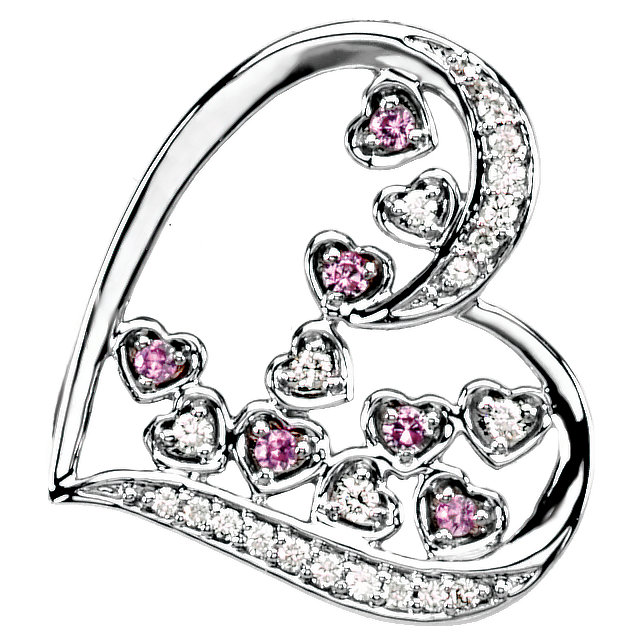 Great Buy in 14 Karat White Gold Pink Sapphire & 0.17 Carat Total Weight Diamond Pendant