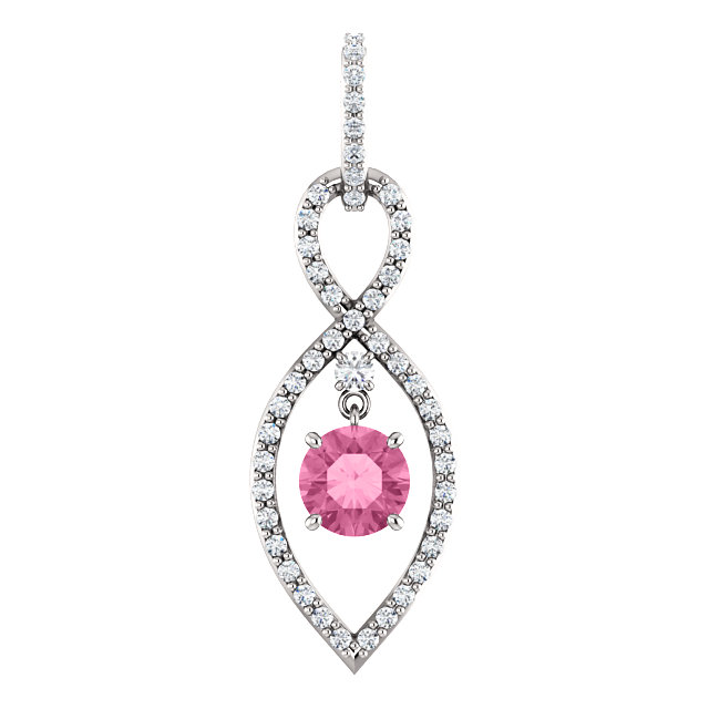 Appealing Jewelry in 14 Karat White Gold Pink Sapphire & 0.40 Carat Total Weight Diamond Pendant