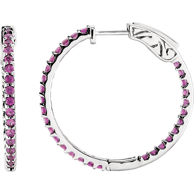 14KT White Gold Pink Sapphire Hoop Earrings