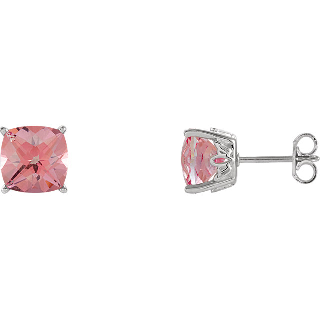 Great Gift in 14 Karat White Gold Pink Topaz Earrings
