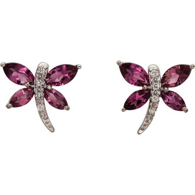 Remarkable 14 Karat White Gold Marquise Genuine Pink Tourmaline & .04 Carat Total Weight Diamond Earrings