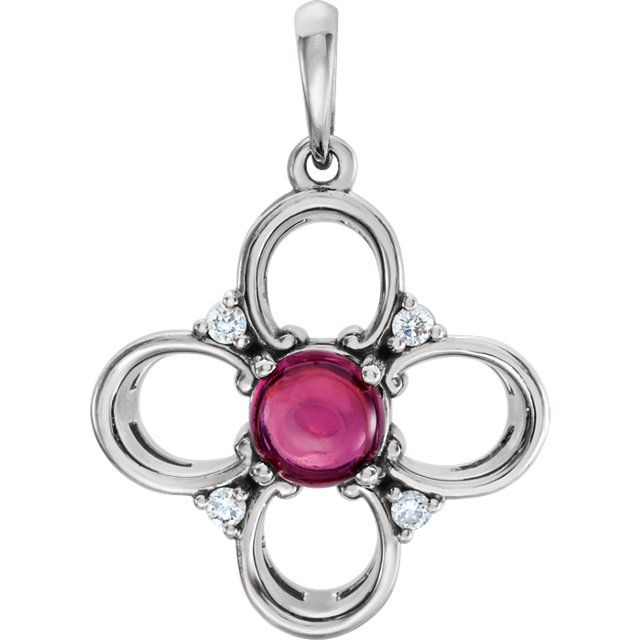 Jewelry in 14 KT White Gold Pink Tourmaline & .06Carat TW Diamond Clover Pendant