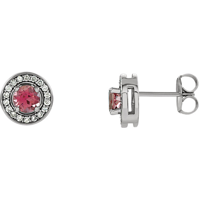 14 Karat White Gold Pink Tourmaline & 0.20 Carat Diamond Earrings