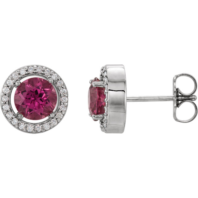 Genuine  14 Karat White Gold Pink Tourmaline & 0.12 Carat Diamond Earrings