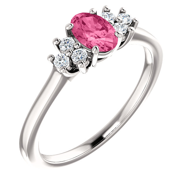 Must See 14 Karat White Gold Pink Tourmaline  & 0.12 Carat Total Weight Diamond Ring