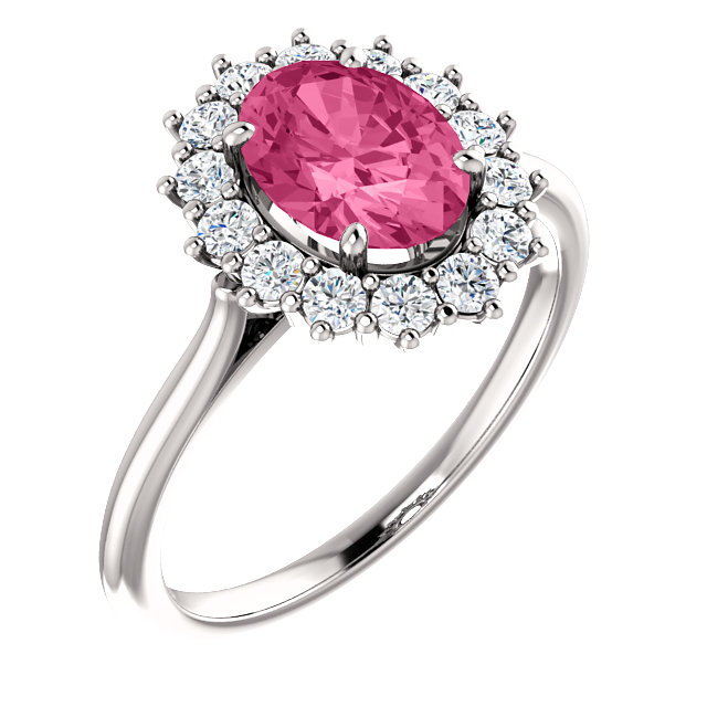 Great Gift in 14 Karat White Gold Pink Tourmaline & 0.40 Carat Total Weight Diamond Ring