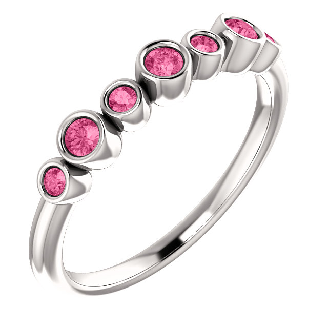 Chic 14 Karat White Gold Pink Tourmaline Bezel-Set Ring