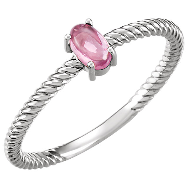 Perfect Gift Idea in 14 Karat White Gold Pink Tourmaline Cabochon Ring