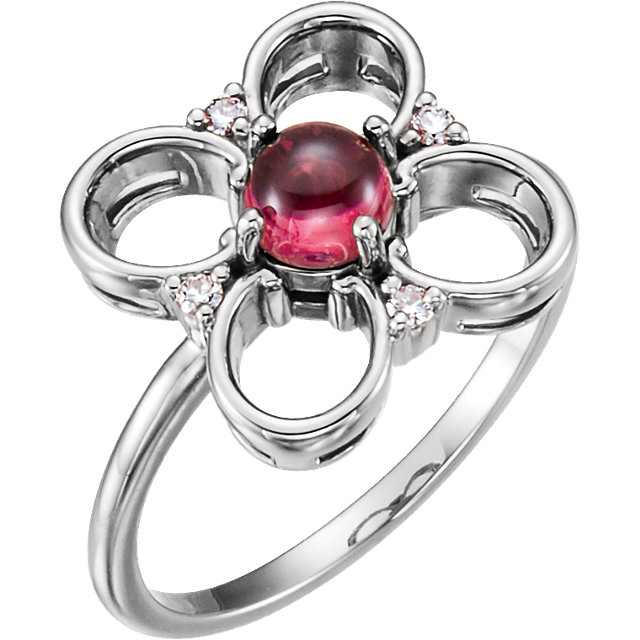 Must See 14 KT White Gold Pink Tourmaline & Diamond Clover Ring