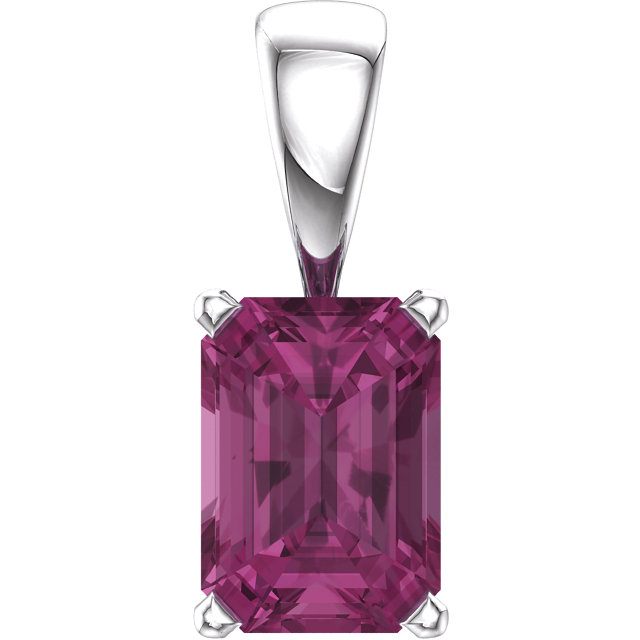 Surprise Her with  14 Karat White Gold Pink Tourmaline Pendant