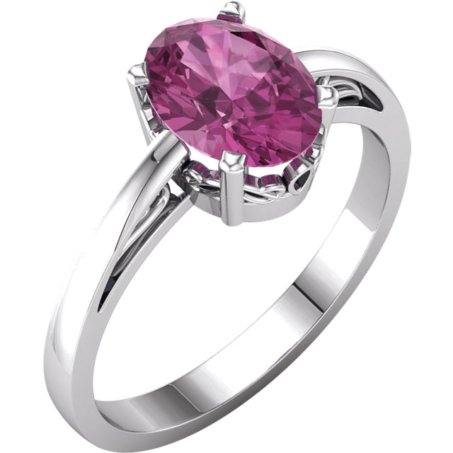 Very Nice 14 Karat White Gold Pink Tourmaline Ring