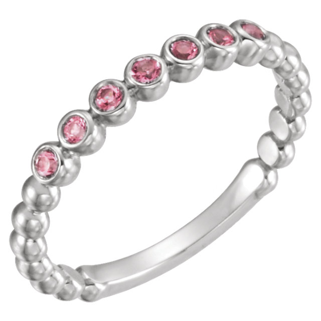 Easy Gift in 14 Karat White Gold Pink Tourmaline Stackable Ring