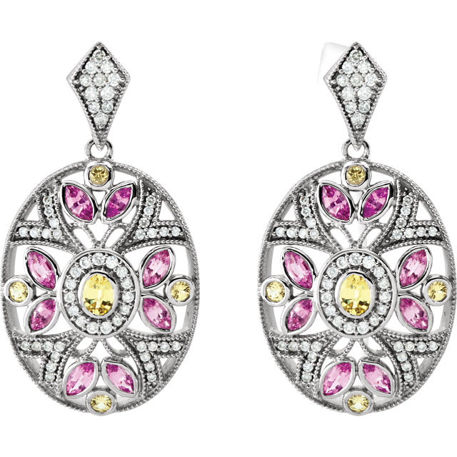 14KT White Gold Pink & Yellow Sapphire & 1/2 CTW Diamond Earrings