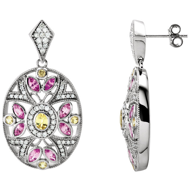 14 KT White Gold Pink & Yellow Sapphire & 1/2 CTW Diamond Earrings
