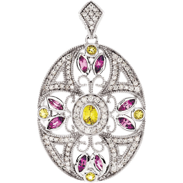 Easy Gift in 14 Karat White Gold Pink & Yellow Sapphire & 0.40 Carat Total Weight Diamond Pendant