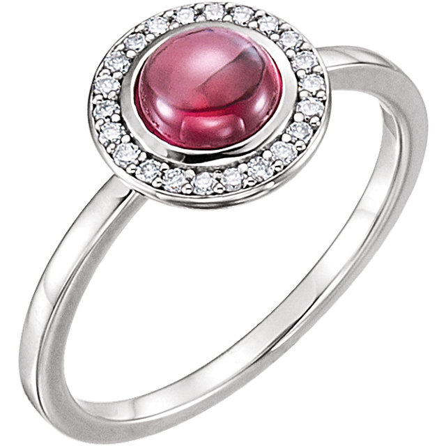 Eye Catchy 14 Karat White Gold Rhodolite & 0.10 Carat Total Weight Diamond Ring