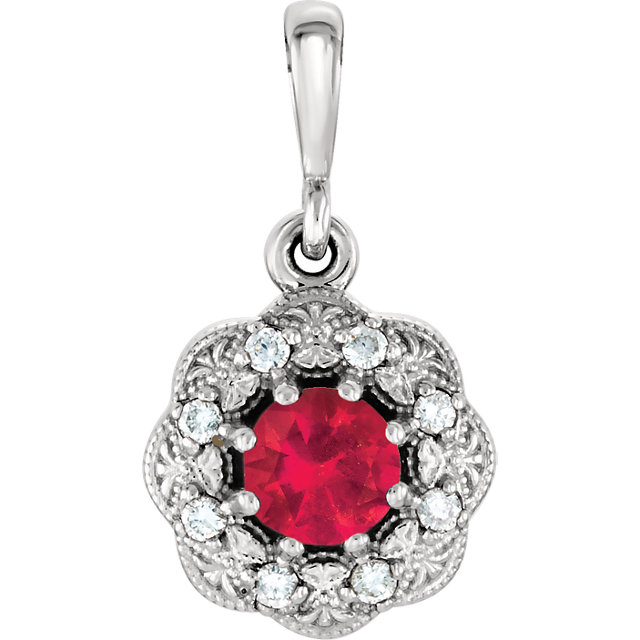 Chic 14 Karat White Gold Ruby & .06 Carat Total Weight Diamond Pendant