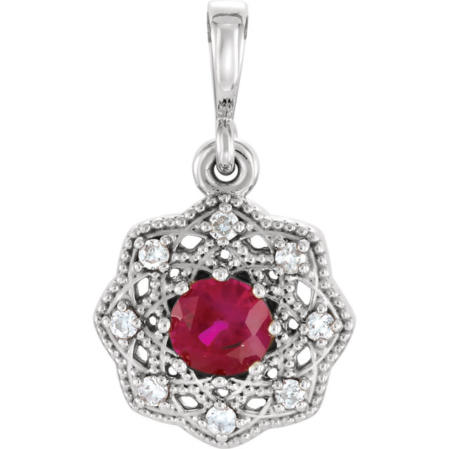 Stunning 14 Karat White Gold Ruby & .06 Carat Total Weight Diamond Halo-Style Pendant