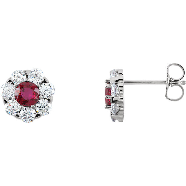 Perfect Gift Idea in 14 Karat White Gold Ruby & 0.12 Carat Total Weight Diamond Cluster Earrings
