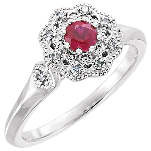 Fine Quality 14 Karat White Gold Ruby & 0.10 Carat Total Weight Diamond Ring