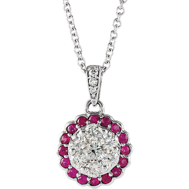 Fine Quality 14 Karat White Gold Ruby & 0.33 Carat Total Weight Diamond Necklace