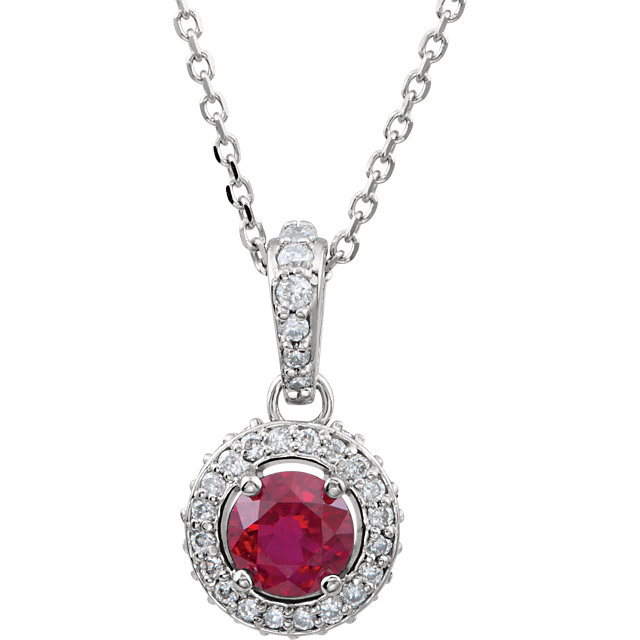 Great Gift in 14 Karat White Gold Ruby & 0.20 Carat Total Weight Diamond 18