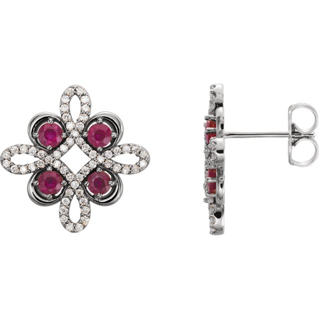 Stunning 14 Karat White Gold Ruby & 0.25 Carat Total Weight Diamond Earrings