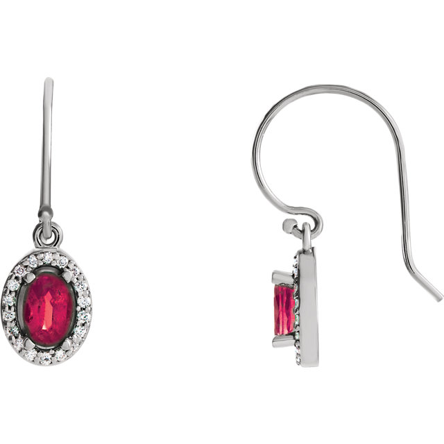 Must See 14 Karat White Gold Ruby & 0.20 Carat Total Weight Diamond Earrings