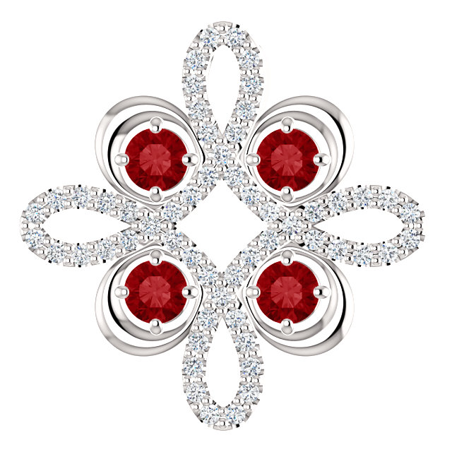 Eye Catchy 14 Karat White Gold Ruby & 0.17 Carat Total Weight Diamond Clover Pendant