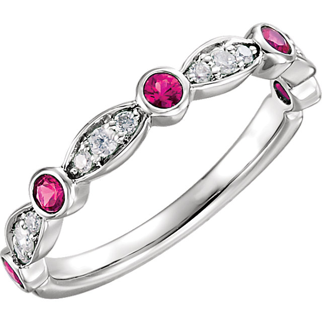 Gorgeous 14 Karat White Gold Ruby & 0.17 Carat Total Weight Diamond Ring
