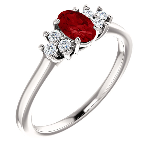 Contemporary 14 Karat White Gold Ruby & 0.12 Carat Total Weight Diamond Ring