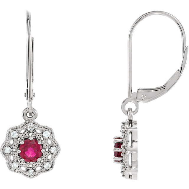 Great Deal in 14 Karat White Gold Ruby & 0.12 Carat Total Weight Diamond Halo-Style Earrings