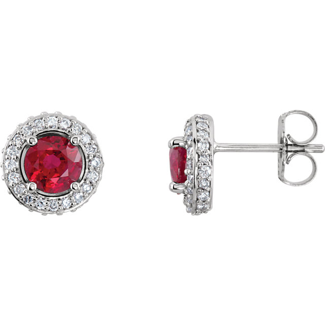 Chic 14 Karat White Gold Ruby & 0.33 Carat Total Weight Diamond Earrings