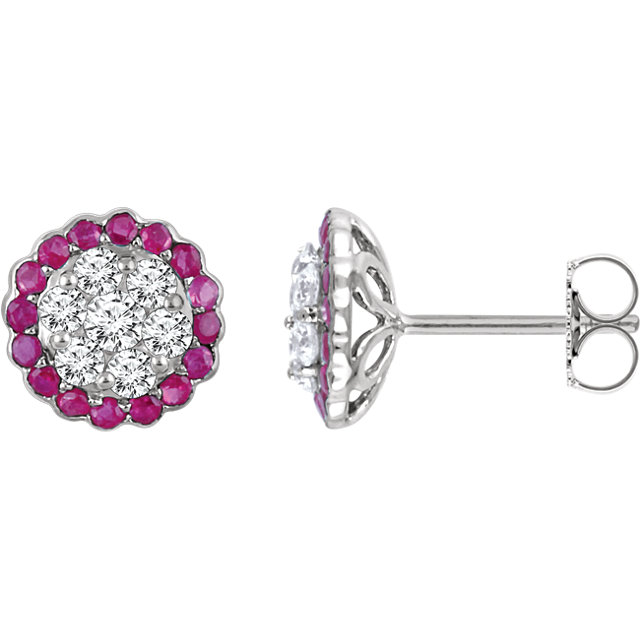 Perfect Gift Idea in 14 Karat White Gold Ruby & 0.60 Carat Total Weight Diamond Earrings